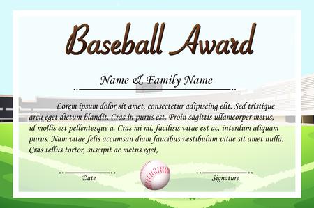 Certificate template for baseball award illustration Illustration