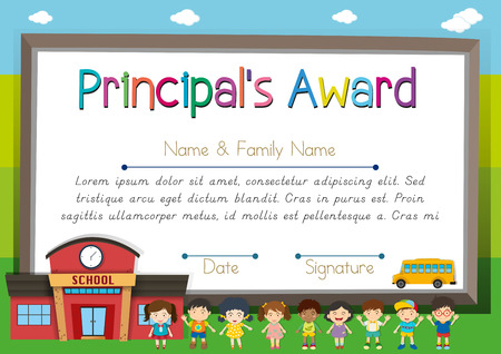 Certificate template for principal award illustration