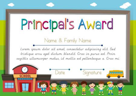 Certificate template for principal award illustration Illustration