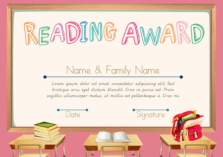 Certificate Template For Reading Award Illustration Royalty Free
