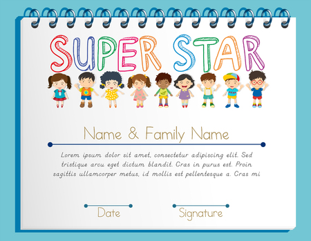 Zertifikatsvorlage für Superstar mit vielen Kinderillustrationen Vektorgrafik