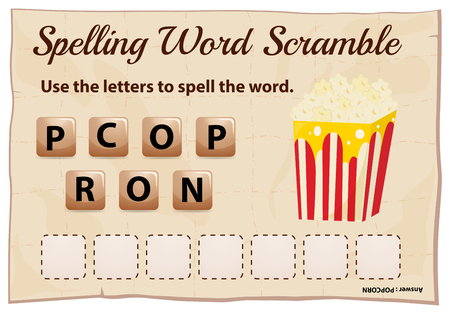 Spelling word scramble for word popcorn illustration