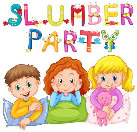 pijamada: Niños en pijama en la ilustración del partido de pijamas