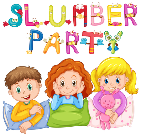 Kids in pajamas at slumber party illustration