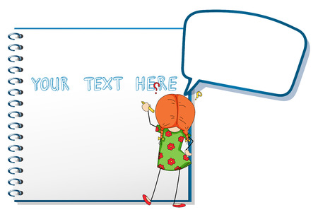 Frame template with girl writing on paper illustration Illustration