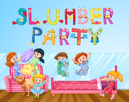 Girls having fun at slumber party in bedroom illustration