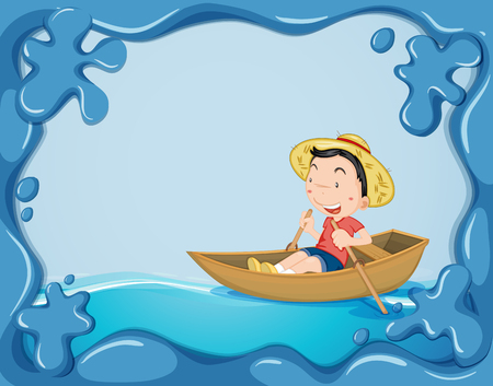 Frame template with boy rowing boat illustration