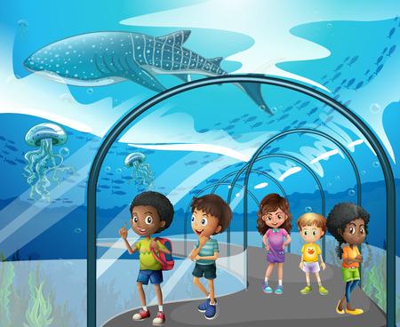 Children looking at fish in aquarium illustration Illustration