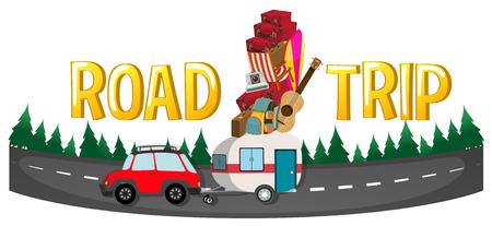 road design: Font design for word road trip illustration