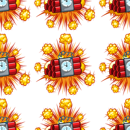 Seamless background design with time bombs illustration