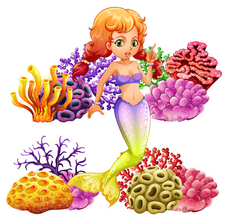 Beautiful mermaid and coral reef illustration