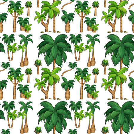 trees illustration: Seamless background with palm trees illustration