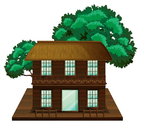 Two-stories house made of wood illustration Illustration