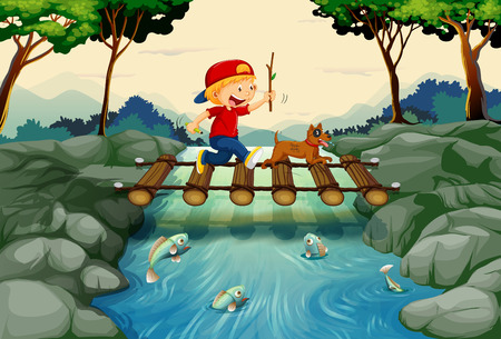 water stream: Boy and dog crossing the bridge illustration