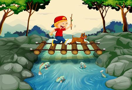 Boy and dog crossing the bridge illustration