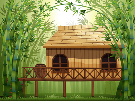 outside the house: Wooden cabin in bamboo forest illustration Illustration