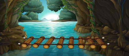 Escena con el puente sobre el río ilustración