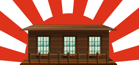 sunbeam background: Wooden house with sun in background illustration
