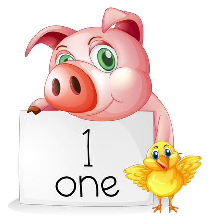 Counting number one with pig and chick illustration