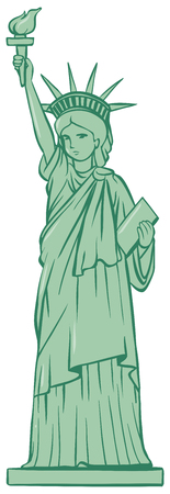 freedom woman: Statue of liberty on white background illustration Illustration