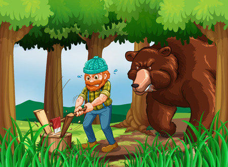 Bear and lumberjack chopping wood in the forest  illustration
