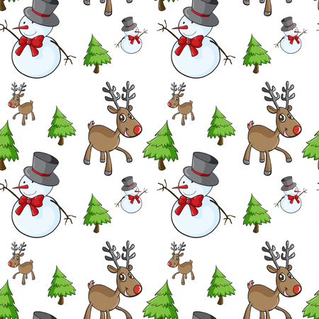 pinetree: Seamless background with snowman and reindeer illustration
