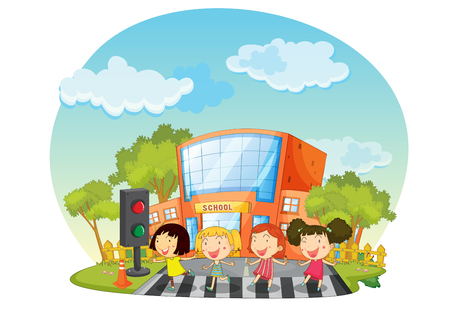crossing street: Children crossing the road in front of school illustration Illustration