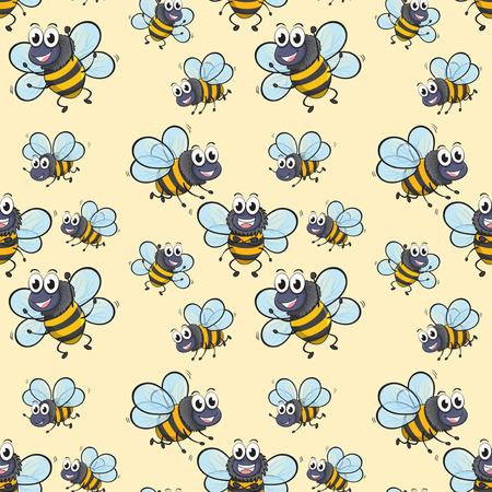 insect flies: Seamless background with bee flying illustration Illustration