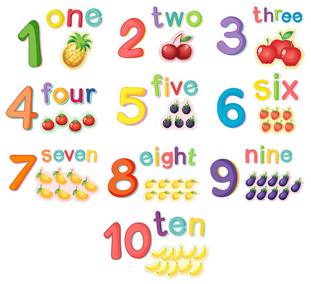 0 9: Counting numbers with fruits illustration