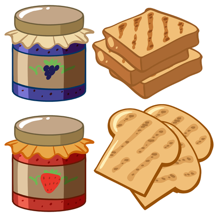 white bread: Jam and bread on white background illustration