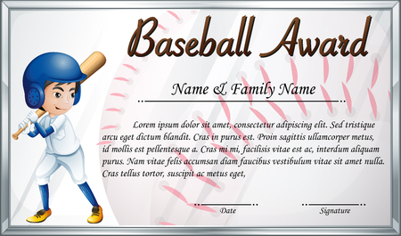 Certificate template for baseball award with baseball player background illustration Stock Vector - 73505400
