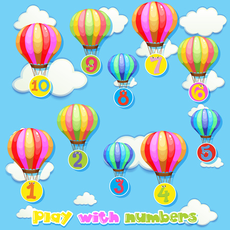 on cloud nine: Balloons with numbers in sky illustration