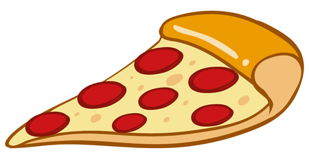 junkfood: Slice of pizza on white background illustration