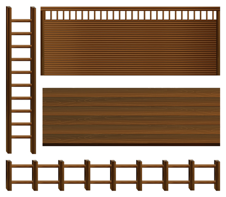 ladder  fence: Wooden fence and walls illustration