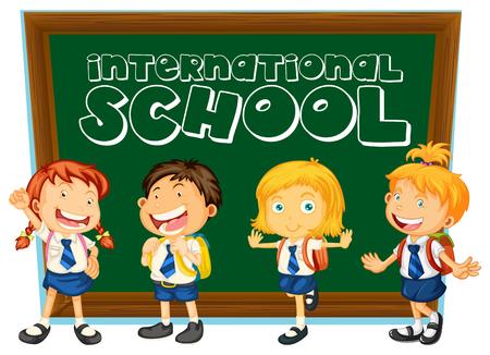 Segno scolastico internazionale con gli studenti in uniforme illustrazione