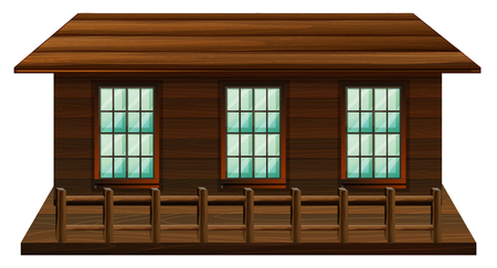 Wooden cabin with three windows illustration