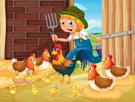 Farmer and chickens in the barn illustration