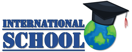 globe logo: Banner design for international school illustration