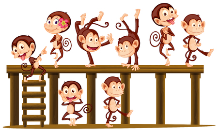 Monkeys playing on the wooden level illustration
