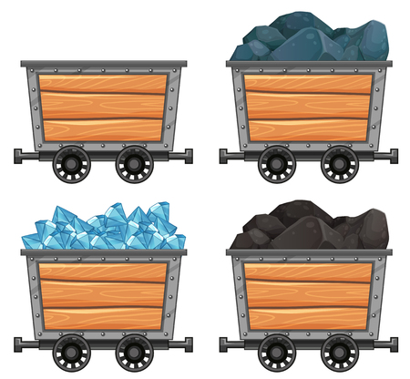 loaded: Mining carts loaded with stones and diamond illustration