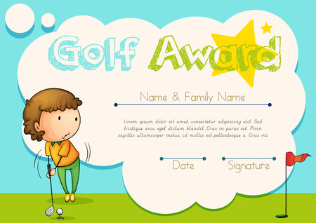 Certificate Template For Golf Award Illustration Royalty Free
