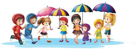 Kids in raincoats and umbrella illustration Illustration