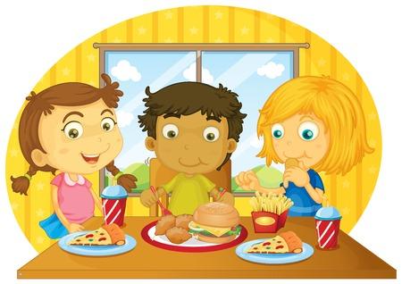 niños comiendo: Tres niños tener comida en la mesa ilustración