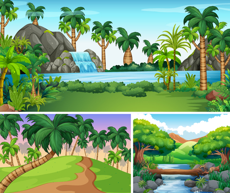 waterfall in forest: Three scenes of river and waterfall illustration