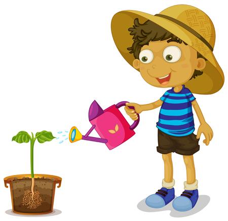 Pianta da irrigazione per ragazzo su sfondo bianco illustrazione