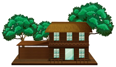 trees illustration: Wooden house with trees illustration