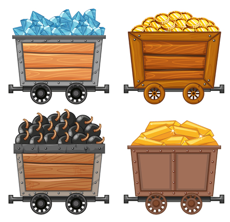 Mining objects on wooden wagon illustration