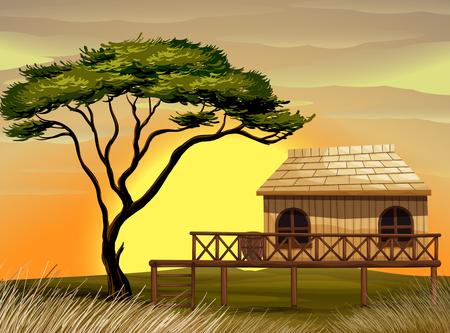 Scène met houten hut op de gebiedsillustratie Stock Illustratie