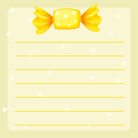 yellow line: Line paper template with yellow candy illustration Illustration
