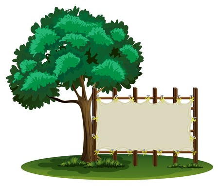 beside: Blank sign beside the tree illustration Illustration